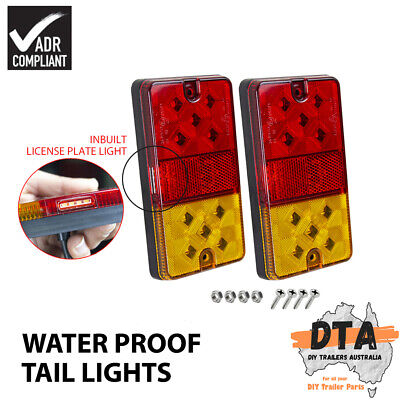 AU28.95 • Buy 2X Waterproof 10 LED Stop Tail Number Plate Light Kit Boat Trailer Lights Lamp