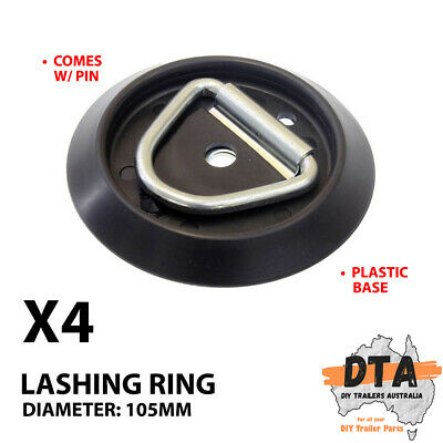 AU23.29 • Buy 4 X Lashing D Ring Round Plastic Base Tie Down Points Rings Anchor Ute Trailer