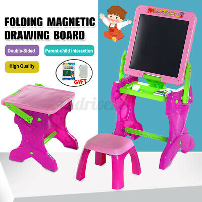 Children Magnetic Drawing Board Easel Double Sided Folding Doodle Sketchpad UK • 21.19£