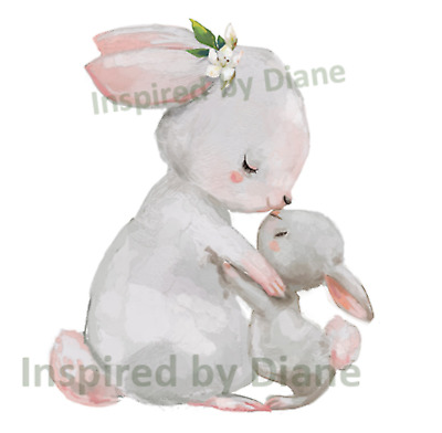 Transparent Decal / Sticker From Painted Wall, Rabbit, Bunny, Nursery Kids  046 • 7.99£