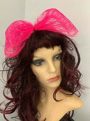 80s Fancy Dress 80s Accessories Hot Pink Hair Bow Large Lace Hair Bow Alice Band • 4.99£
