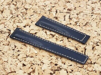 £9.99 • Buy Genuine Leather Replacement Padded Deployment Watch Strap 22mm Ink Blue