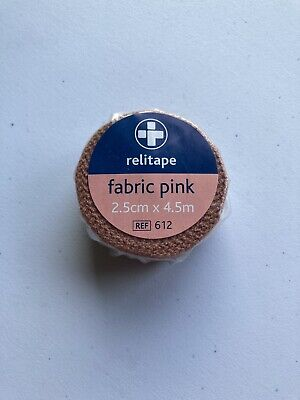 2 X Relitape Pink Fabric Elastic Strapping Tape - 2.5CM X 4.5M  • 2£