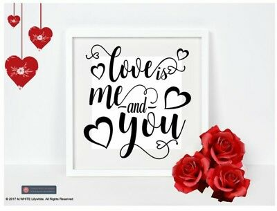£3.99 • Buy Love Is Me & You - Vinyl Sticker For Box Frame - Wedding, Engagement, Valentines