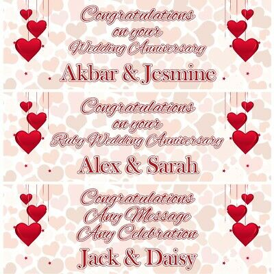 2 Personalised Red Hearts Wedding Anniversary Celebration Banners Decor Posters • 12.99£