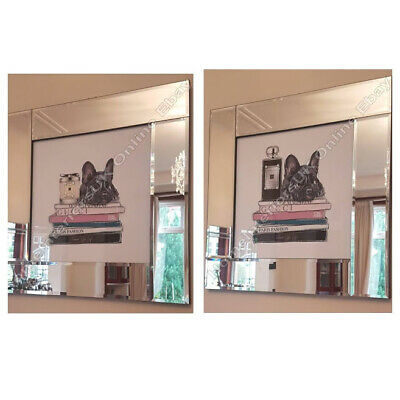 French Bulldog & Jo Malone Wall Art Pictures With Liquid Art & Mirror Frames • 69.99£