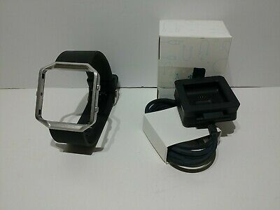 $ CDN26.75 • Buy Fitbit Blaze Black Band Replacement W/ Metal Frame - Large + Charging Cable NEW