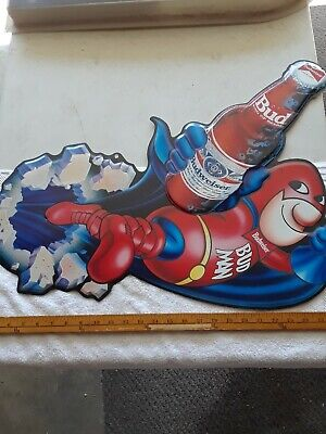 $ CDN113.95 • Buy Budweiser Sign BUD MAN 1989 Tin VERY COOL Excellent Condition