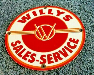 $ CDN173.44 • Buy Willy's Porcelain Gas Oil Jeep Overland Service Vintage Style Dealership Sign