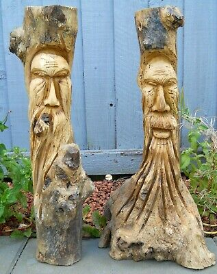 CURVED Carved Wooden Green Man Full Tree Trunk Stump Log 50 Cm Indoor Outdoor  • 38.99£