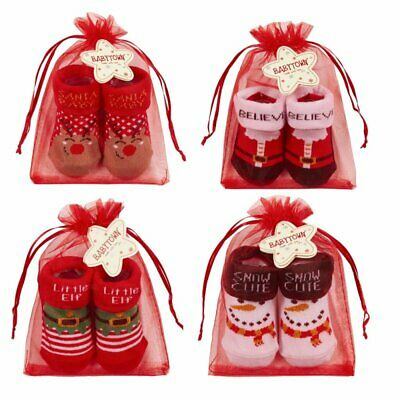 Baby Cotton Socks Christmas Gift Red Booties Infant 0-6 6-12 Months Organza Bag • 3.19£