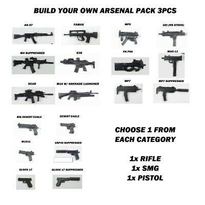 $11.86 • Buy Custom Weapons 1:12 Scale 6  Build Your Own Arsenal Pack Rifle SMG Pistol Fodder