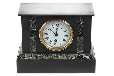 Antique 19th Century French Made Slate & Marble Mantel Clock (with Pendulum Key) • 370£