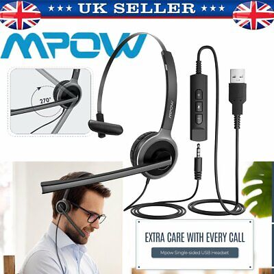Mpow USB Headphones With Microphone Noise Cancelling Headset For Skype Laptop UK • 18.49£