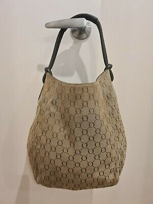 AU15.50 • Buy Large Oroton Signature O Hobo Handbag Leather Canvas Bag