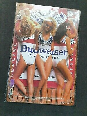 Budweiser 3 Girls Metal Sign Plaque Man Cave Beer Retro Pub Bar Garage Vintage • 6.90£