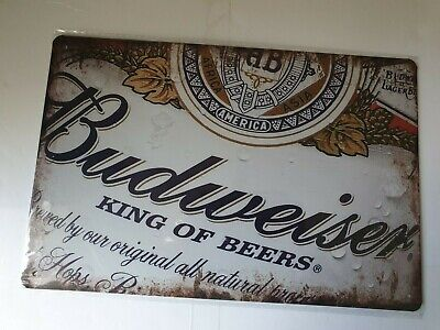 Budweiser Label Metal Sign Plaque Man Cave Beer Retro Pub Bar Garage Shed  • 6.90£