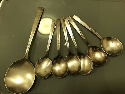 VINERS Of Sheffield 6 Soup Spoons & 1 Large Ladle Spoon • 25£