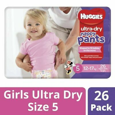 AU20.99 • Buy 26Pc Huggies Soft Stretchy Ultra Dry Nappy Pants For Girls Size 5 12-17Kg