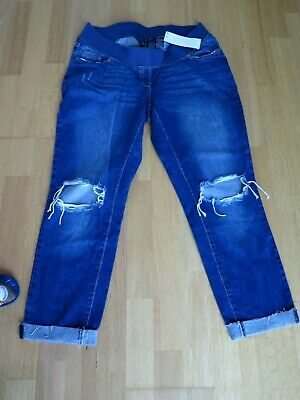 Next Blue Maternity Slim Slouch Ripped Elastic Waist Stretchy Jeans Size 12R • 23£