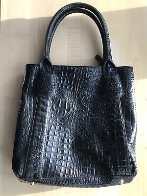 Ladies L K Bennett Croc Crocodile Effect Black Leather Handbag Shoulder Bag • 85£