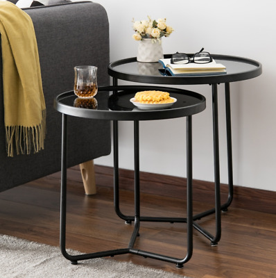 Modern Nest Tables Round Mirrored Glass 2 Side Furniture Metal Vintage Coffee  • 89.89£
