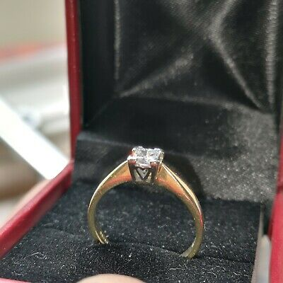 18ct Gold Diamond Solitaire Ring • 450£