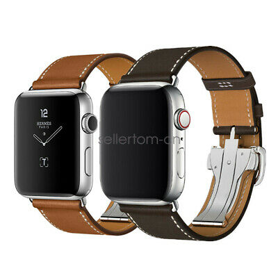 AU33.99 • Buy Genuine Leather Deployment Buckle Watch Strap Band For Apple Watch SE 6 5 4 3 2