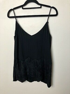 AU29.99 • Buy Massimo Dutti Black Camisole With Detailed Bottom Size 8 Small 6