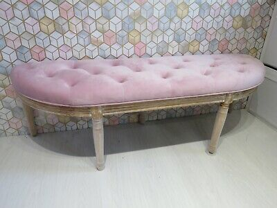 Long Padded Button Through Pink Bench Seat Wooden Base Large Stool Bedroom  • 150£