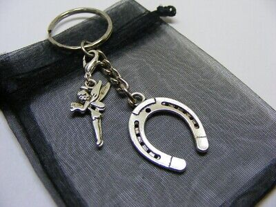 £3.95 • Buy Lucky Horseshoe & Fairy Tinkerbell Charm Keyring With Gift Bag