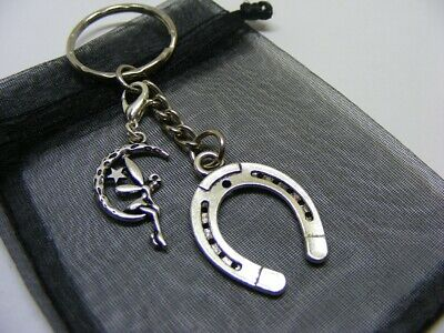 Lucky Horseshoe & Moon Fairy Charm Keyring With Gift Bag • 3.95£