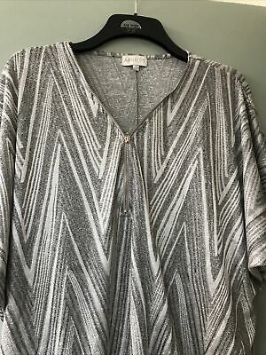 £14.50 • Buy Bnwt Apricot Shiny Silver & Grey Batwing Front Zip Top Uk Size M/l