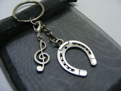 Lucky Horseshoe & Treble Clef Charm Keyring With Gift Bag • 3.95£