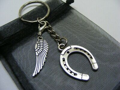 Lucky Horseshoe & Angel Wing Charm Keyring With Gift Bag • 3.95£