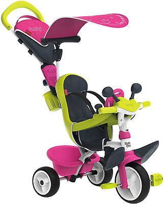 Smoby Pink Comfort Trike With Parent Handle | Push Along Baby Tricycle With A Of • 109.97£