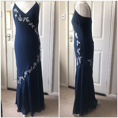 £10 • Buy Blue And Silver Embroidered Fishtail Floor Length Evening Dress Size 10 / 12