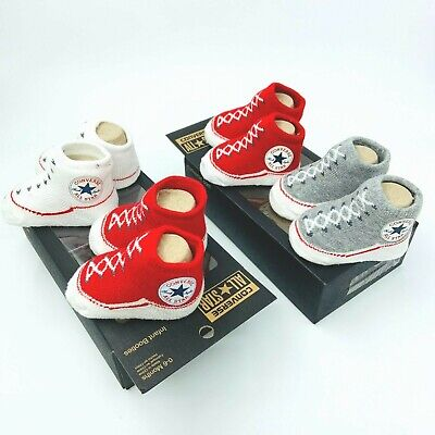 Converse All Star Baby Infant Slip On Sock Booties Gift Boxed 2 Pairs 0-6 Months • 12.99£