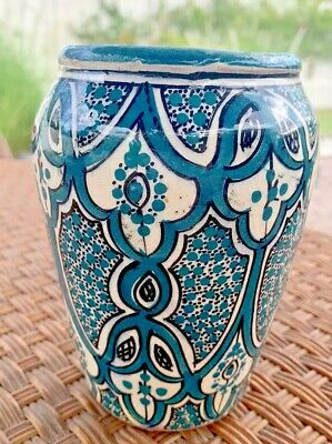 £63.71 • Buy Moroccan Safi Hand Painted Pottery Vase Middle East 5 1/2  Glazed SIGNED