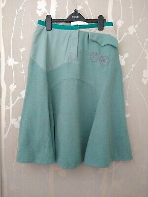 Quirky St Martins Designer Skirt Quirky Woolblend Size S Lined Malin Trees Faces • 12.99£
