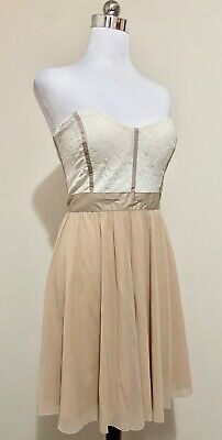 AU24 • Buy Asos Mini Dress Size 14 Strapless Cream Floral Lace Tan Skirt Fit & Flare Party