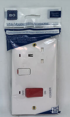 British General Cooker Connection Unit 13A Socket + 45A Switch & Power Indicator • 7.99£