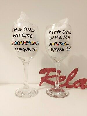 £10 • Buy FRIENDS Personalised WINE Glass Birthday 18th 21st 30th 40th Any Age Gift 💖