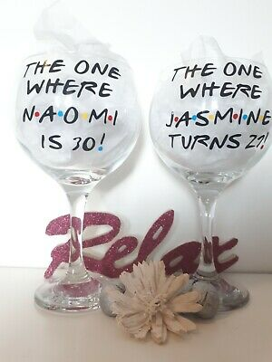 """£12 • Buy """"FRIENDS"""" Personalised Gin Balloon Glass Birthday 18th 21st 30th 40th 50th 60th"""