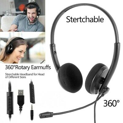 UK USB Headset Computer With Microphone Noise Cancelling Business Call Center • 8.99£