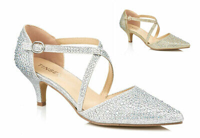 £21.99 • Buy Ladies Diamante Glitter Mid Kitten Heel Strappy Evening Party Shoes Sizes 3-8