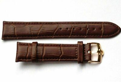 New 20mm Brown Genuine Leather Watch Strap / Gold Plated Buckle For Omega • 14.99£