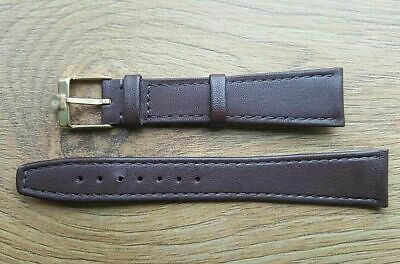 New 18mm Brown Genuine Soft Leather Slim/ Flat Watch Strap Gold Plated Buckle • 12.99£