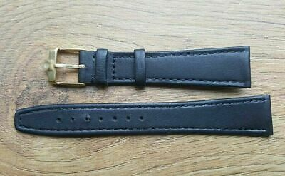 New 18mm Black Genuine Soft Leather Slim/ Flat Watch Strap Gold Plated Buckle • 12.99£