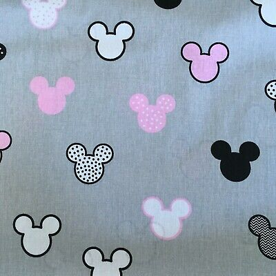 MICKEY MOUSE KIDS COTTON FABRIC  Meter EX WIDE 160 CM 64  MODERN GREY PINK • 7.70£